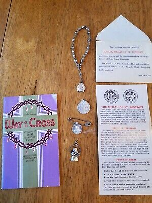 Vintage LOT of Religious Medals, Catholic Relics, 1937 way of the cross booklet