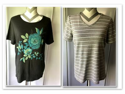 LOT OF 2 Womens LARGE Knit Shirts Tops White Stag & Kim Rogers Short Sleeves