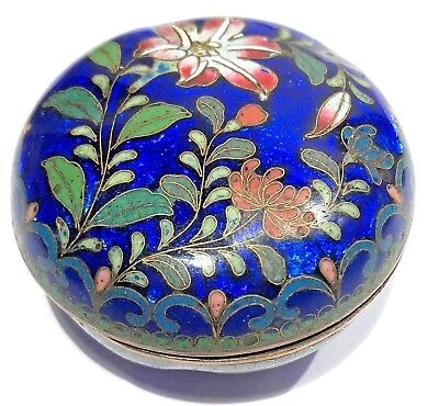 Antique / Vintage Chinese Enamel Cloisonne  Round Botanical Box