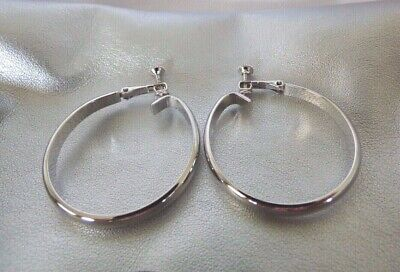 7be0bb598 Vintage NAPIER Signed Silver Tone Earrings Screw Back Clip On Classic Hoop