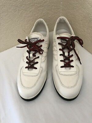 e018e07e9 Gucci 233326 White Leather/Satin Web Sneakers Men Sz 13G/ Us 13.5- 14