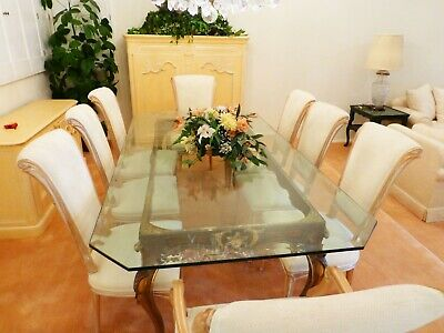 Vintage Italian Carved Dining Room Table with Beveled Glass Top