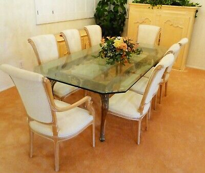 8 Vintage Italian Dining Chairs ( 2 w/ arms) Upholstered Imported Italy