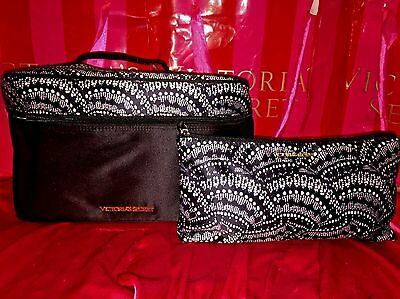 Victorias Secret Lingerie Travel Bags 2 Piece Set Black Satin