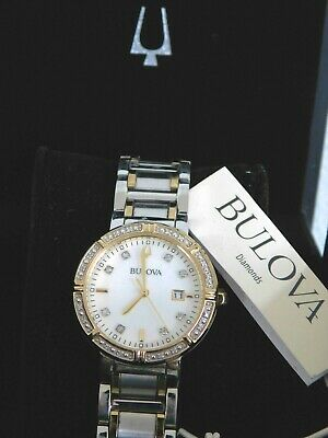 Display Bulova 98R260 Womens Diamond Accented MOP Dial Two-Tone Stainless Watch