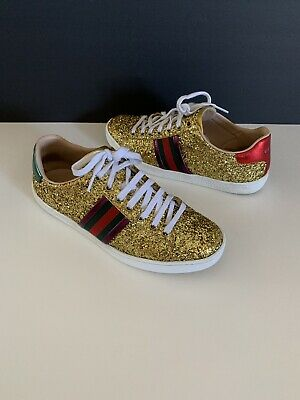 6321d3e2929 AUTHENTIC GUCCI ACE Gold Metallic Glitter Leather Sneakers Sz 38 G ...