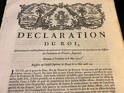 1772 ROYAL DECLARATION  12 pages