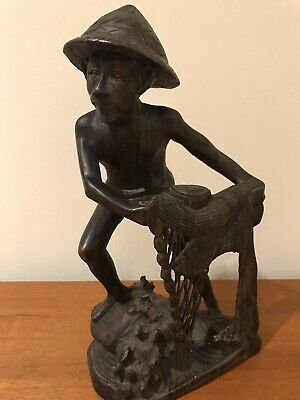 Antique Wood Carved Sculpture Fisherman With Net Fish Asian Vintage Figure Bambo
