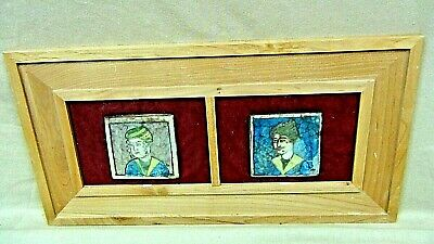 PAIR ANTIQUE 18c PERSIAN QAJAR ISLAMIC POTTERY PAINTED KING &QUEEN TILES FRAMED