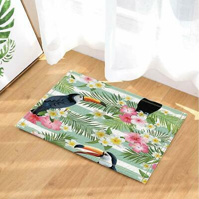 Tropical Bird Toucan in Palm Leaves and Flowers Bath Rugs Non-Slip Kids Bath Mat