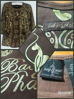 BABY PHAT DRESS girls small BROWN with GOLD front pockets Long Sleeve PULLOVER