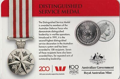 2017 Australian Distinguished Service Medal 20 cent carded coin UNC
