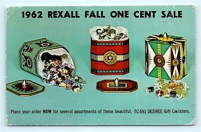 Postcard Rexall Warehouse 1962 Fall One Cent Sale Desiree Gift Canister Ad J11