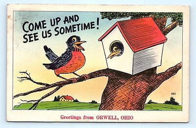 Postcard OH Orwell Come See Us Greetings from Orwell Ohio Vintage Linen R72