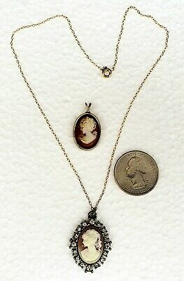 2 Beautiful Antique CAMEO PENDANTS One with Chain Women of Beauty & Grace Fine