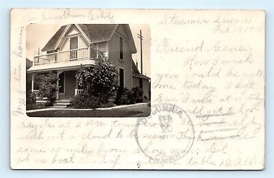Postcard CA Upland RPPC Real Photo of House Message From Steamer Queen 1908 L04