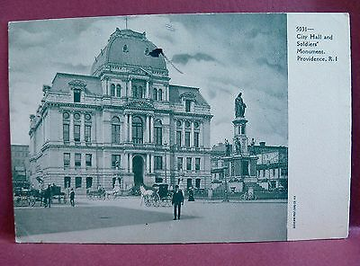 Old postcard  Pre 1907 City Hall & Soldier's Monument Providence RI