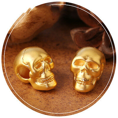 1pcs New Pure 999 24K Yellow Gold Pendant Man Woman's 3D Lucky DIY Skull 11*17mm