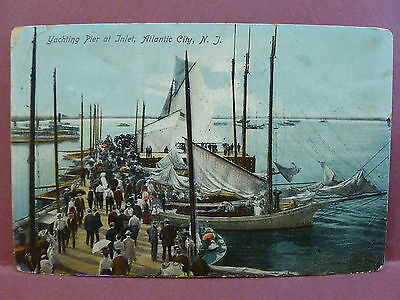 Old Postcard NJ Atlantic City Yachting Pier at Inlet 1907