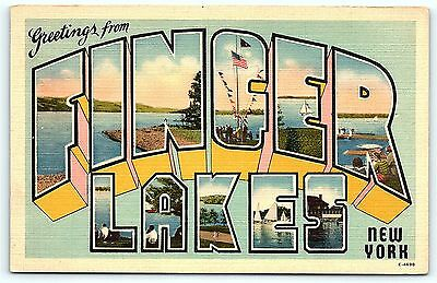 Postcard NY Finger Lakes Large Letter Greetings from Finger Lakes
