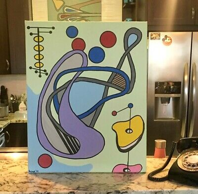 MidCentury Mod Abstr 'Paradise Has Donuts' Orig Painting on Canvas