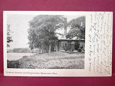 Old Postcard MA Middleton Pumpino (pumping) Station & Forest Lake