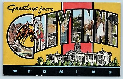 Postcard WY Large Letter Greetings From Cheyenne Wyoming Vintage Linen P11