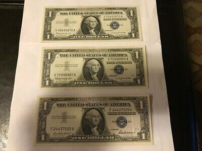 Lot of 3 AU 1957 & 1957 B $1 Dollar Silver Certificates Old Currency $1.00