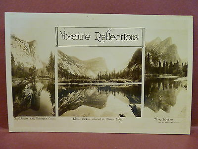 Old Real Photo Postcard RPPC  3 Scenes Yosemite National Park Camp Curry Photo