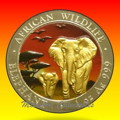 2015 Somalia Elephant Sunset Edition 1 Oz Silver Colored Coin African Wildlife