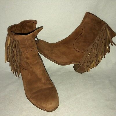 897e2ec0e Sam Edelman Louie Women s 8.5M Suede Side Zip Fringed Ankle Booties Chestnut