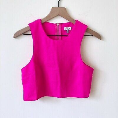 34d70752d70 TOBI Fuchsia Pink Crop Top Exposed zipper Size Small Sleeveless