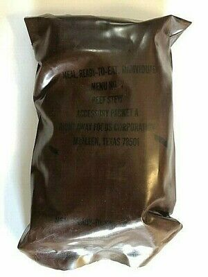 ~Nos! Us Military Vintage Brown Bag Mre Beef Stew Menu No 7 Right Away Foods