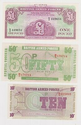 (N29-30) 1972 GB military bank notes 1 pound, 50p & 10p UNC (AE)