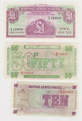 (N29-22) 1972 GB military bank notes 1 pound, 50p & 10p UNC (V)