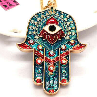 Blue Rhinestone Magic Ancient Egypt Eyes Palm Pendant Betsey Johnson Necklace
