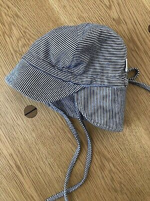Toshi Summer Flap Cap Hat S Blue And White Stripe