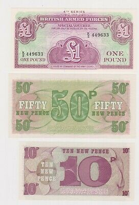 (N29-47) 1972 GB military bank notes 1 pound, 50p & 10p UNC (AV)