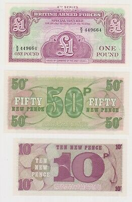 (N29-1) 1972 GB military bank notes 1 pound, 50p & 10p UNC (A)