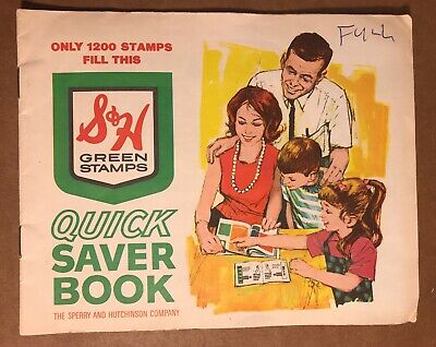 Vintage S & H Green Stamps Quick Saver Book, Filled With 1200 Stamp Value