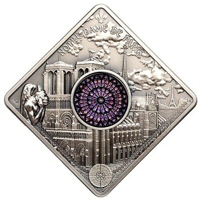 *BUY! 50g Silver Palau $10 NOTRE DAME CATHEDRAL Sacred Art Holy Windows Cn 2017