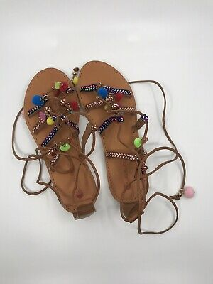 371909879c3 Women s Big Buddha Gladiator Embroidered Brown lace up sandals w  pom-poms  sz 7