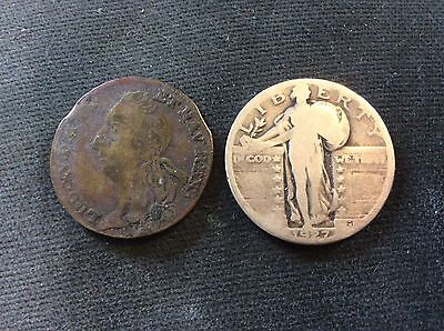 authentic antique Louis XV French Coin dated 1744 good condition
