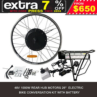 "26"" 1000W Electric Bicycle Conversion E-Bike Rear Wheel Kit 48V 15.4Ah Ebike Kit"