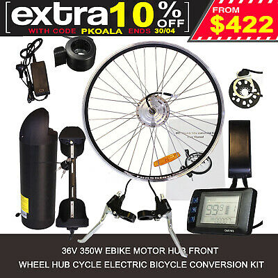 36V 26'' 10Ah Lithium Battery 350W Front Rim Electric Bike Conversion Kit Ebike