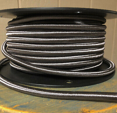 14 Gauge Cloth Covered 3-Wire Cord, Pewter Color - Electrical Power Cable Per Ft