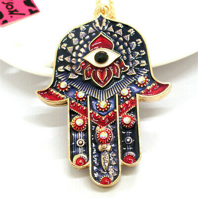 Charm Rhinestone Magic Ancient Egypt Eyes Palm Betsey Johnson Pendant Necklace