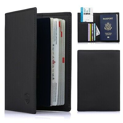 Travel Wallet RFID Blocking Anti Scan Long Passport Holder Genuine Leather 2019