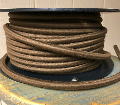 14 Gauge Cloth Covered 3-Wire Cord, Brown Color- Electrical Power Cable Per Foot