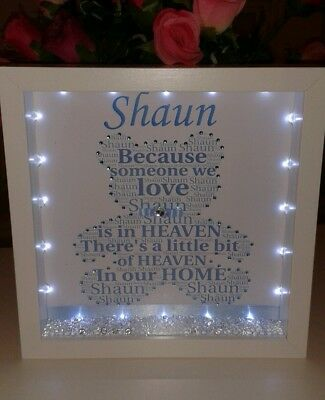 Personalised bear frame in memory of a loved one with lights